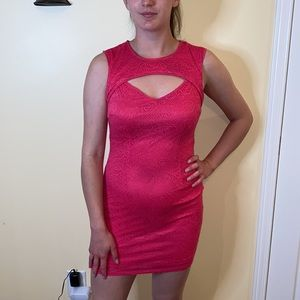 Hot pink sexy f21 lace dress with cut out!
